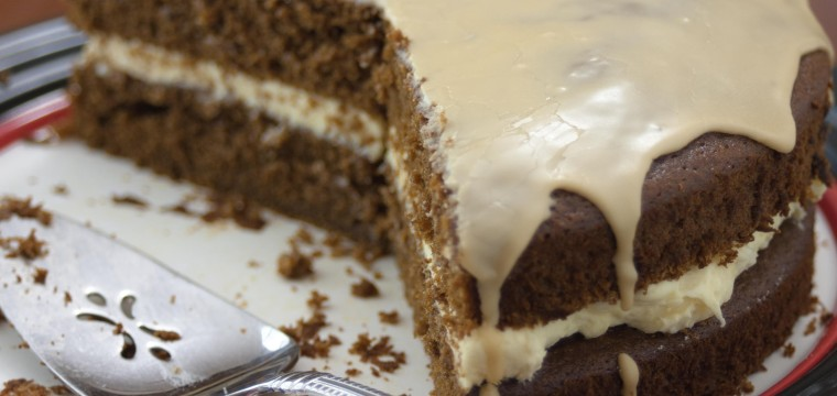Fresh Ginger Cake w/ Rich Buttercream and Coffee Glaze : Schneider Aventinus