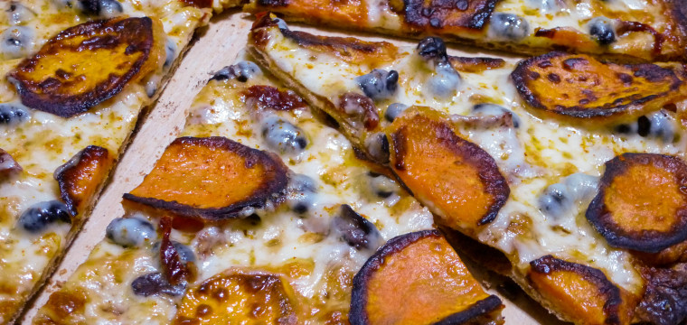 Chipotle-Sweet Potato Pizza : Left Hand Milk Stout Nitro